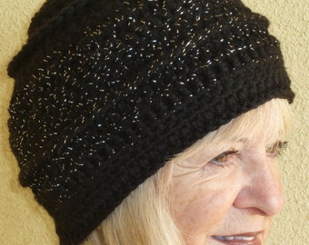 Black and silver women's winter hat, creative hats with style, original handcrafted crochet hat, unique black skullcap, women's winter hat