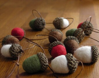 Felted Acorn Garland White, Green, Red and Brown