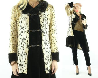 60s Faux Fur Coat Spotted Leopard Animal Print Jacket Dress Coat Vintage 1960s Medium M HIppie Boho Pinup Rockabilly