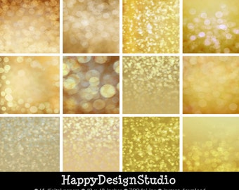 gold glitter bokeh paper pack, instant download, commercial use, BG01