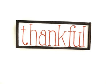 Thankful Handcrafted Wooden Fall Sign // Halloween Sign // Halloween Decor // Thanksgiving Sign // Thanksgiving Decor // Rustic Fall Sign