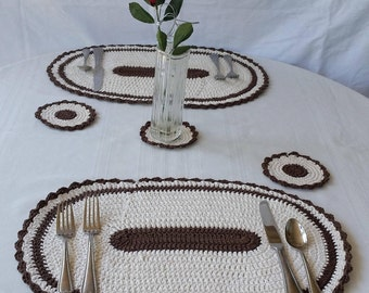 Cotton Oval Place Mats And Matching Coasters, Crochet Oval Placemat, Round  Beige Coasters, Crochet Placemats,table Centerpiece,beige Coaster