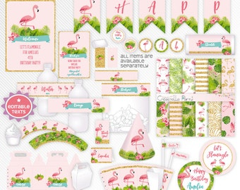 Pink tropical flamingo - editable printable party decoration package - INSTANT DOWNLOAD - A4 & LETTER