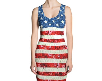 American Flag Sequin Look Printed Patriotic Fourth of July Mini Dress