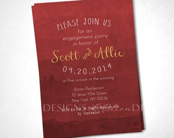 Red Dye Dip Ombre Invitation - Shower, Party, or Special Occasion - DIY Printable