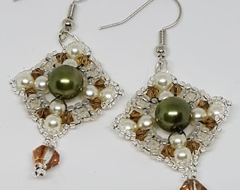 Olive green, topaz and Silver Earrings