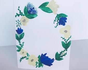 Floral Card / Watercolor painting /handmade greeting card / blank inside card