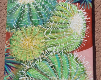 "Graphic BARREL CACTUS is a stunning, modern acrylic painting 12""x24"" on canvas"