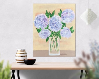 Hydrangea Painting -Hydrangeas Flower Painting - Purple Pink  Flower Art - Wall Art Acrylic Painting - 16 x 20 Canvas Wall Hanging