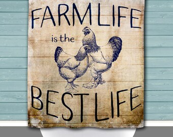 Shower Curtain and More - Hens Farm Life is the Best Life Country Blue Chic | See Dropdown for Pricing and Matching Decor Options