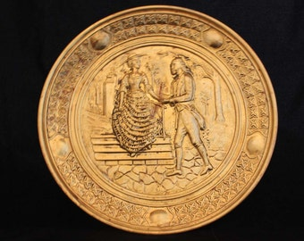 Vintage Brass Wall Plate Couple Courting on Stairs, Vintage Repousse Brass Plate , Peerage from England, Embossed Plate, Brass Plate
