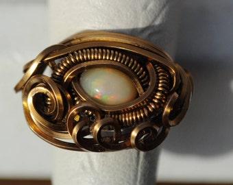 Size 3.75 Genuine Ethiopian Welo Opal Ring in Copper