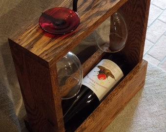 Single bottle wine & two glass carrier.