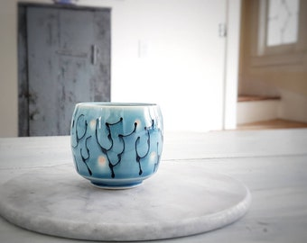 Tiny Tumbler Firefly Design - Porcelain Cup functional Pottery Tumbler handmade cup made on Pottery Wheel For Wine, Scotch, Juice
