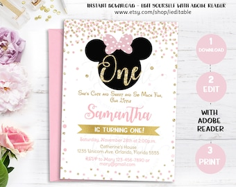 20 OFF Pink and Gold Minnie Mouse Birthday Party Invitation