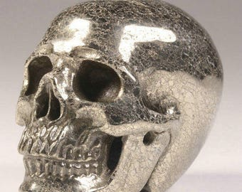 "Stunning Memento Mori Carved Pyrite Stone Skull Realistic Figure 2"" Healing Pendant"