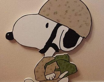 Military Snoopy Outdoor Yard Art