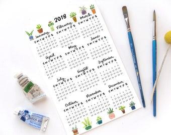2018 Half Page Full Year Succulent Desk Calendar | Hand Illustrated Succulent Calligraphy Handmade Desk Calendar
