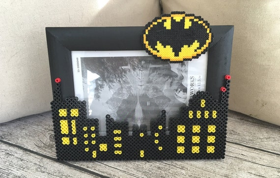 Batman Photo Frame Perler Bead Pixel Art Gotham City Picture Frame ...
