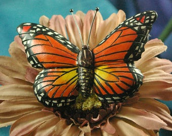 Handmade Wood Carving Pin of a Monarch Butterfly
