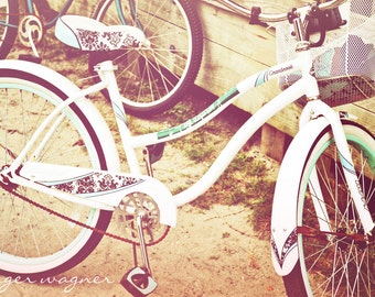 Retro Photography - White and Aqua Bicycle with Basket - 4 x 6 fine art print - bicycle sand aqua white tan wall art home decor