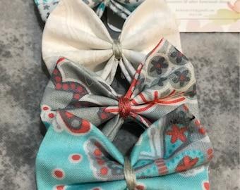 Set of 4 handmade fabric hair bows