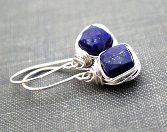 Lapis Lazuli Drop Earrings, Bezel Wrapped in Sterling Silver ,14k Gold FIlled , Rose Gold Fill , Cushion Cut Gemstones