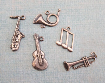 5 Silver Music Charms 2850