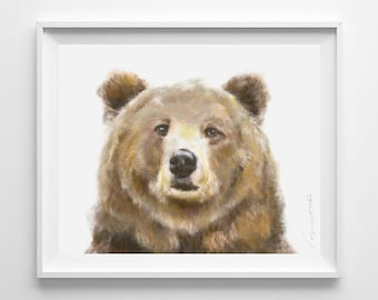 Grizzly Bear Watercolor Painting - Forest Cabin Art Print