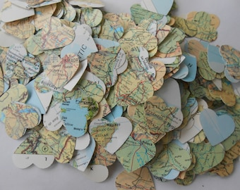 Heart shaped world etsy 1000 vintage map confetti green blue yellow orange world map or choose your map heart shaped custom orders welcome gumiabroncs Images