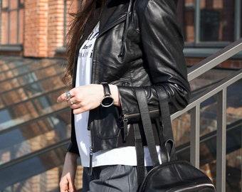 Black Leather jacket  women with hood Motorcycle jacket Moto jacket Biker jacket Womens leather jacket Real leather jacket 36 Gift for women