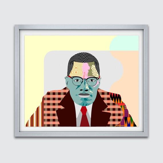 Malcom X Poster, Malcolm X Art Print, Malcom X Vintage, Civil Rights Activist, Black History Month, African American Social Activist