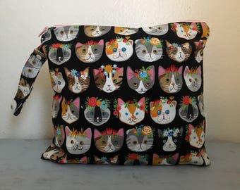 Kitty cat wet bag, baby bag, beach bag, diaper bag, small baby bag, large wet bag, kitty bag