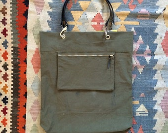 "Tote ""KUIR XL +"" canvas military Vintage & cotton flower"