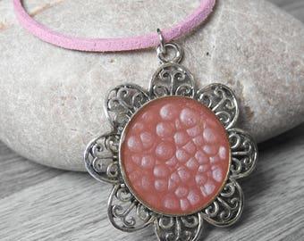 Burgundy Flower Pendant - Chrysanthemum Necklace - Painted Flower Necklace - Burgundy Mum Necklace - Red Flower Pendant - Gift For Wife