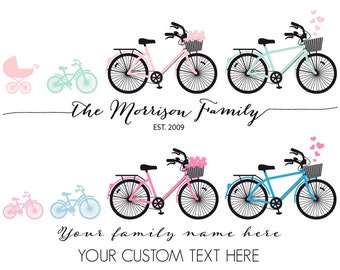 Custom baby shower, new baby announcement, new baby boy, baby girl, tandem bicycle, family bike, new baby gift, printable wall art, print
