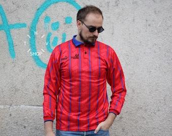 Vintage PUMA soccer jersey / Mens t-shirt tshirt Felix 21 / Football Tee Shirt / Longsleeve red blue sweatshirt / Made in UK / 90s S M