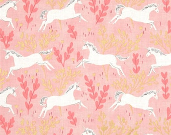 Pink Gold Metallic Magic Unicorn Forest Sarah Jane for Michael Miller Flannel  Fabric   1/2 Yard Free Post