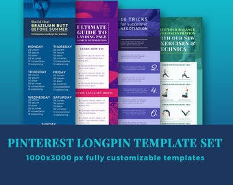 Blog banner template set / pinterest template /social media templates / longpin templates
