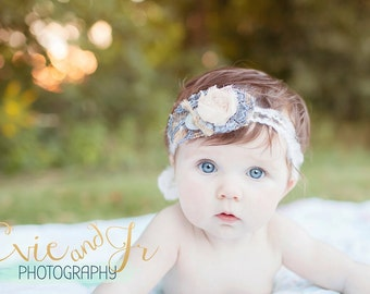 Willow Gypsy - Open Halo Headband Wrap Tie Back - Burlap Lace Twine Button - Newborn Baby Girl Infant Adults - Photo Prop