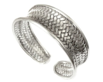Woven Sterling Silver Handmade Statement Cuff Bracelet, Boho Ethnic Tribal Gypsy Braided Silver Weave Bangle, 3 sizes width, Gift for her