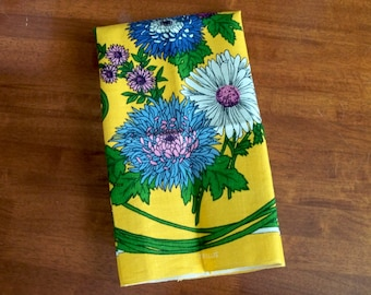 Vintage Linen Tea Towel - Bright Yellow with Blue and Purple Flowers - Unused MWT