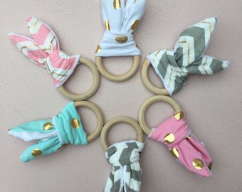 Baby Organic Wooden Bunny Ear Teething Ring - With Crinkle Material for a Sensory Experience - One Supplied