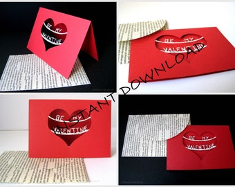 DIY Printable Valentines Card with Envelope - Instant Download