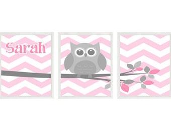 Owl Nursery Art, Chevron Owl Print, Baby Girl Nursery, Pink, Gray Nursery, Personalized, Name Art, Girl Room Art, Owl Playroom, Girl Art