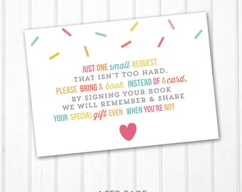 Bring a Book Instead of a Card Books for Baby Bring a Book Baby Shower Insert Printable Instant Download