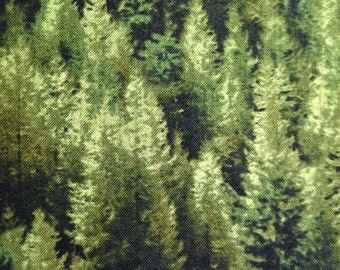 Pine Forest on Dark Green Background, The Reclaimed West Collection by Judy Niemeyer for Timeless Treasures, 100% Cotton