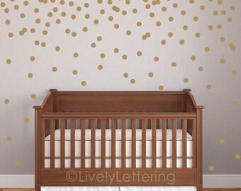 "Mini 2"" Polka Dot decal set, Circle wall decals, Geometric pattern, Gold dot decals, Confetti decal pack, Nursery decor, wall art LL1806"