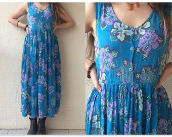 90s Vintage Boho Blue & Floral Indian Rayon Babydoll Empire Waist Maxi Dress