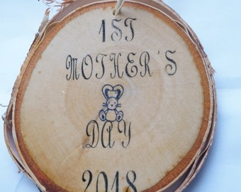 1st Mother's Day ornament, wood slice ornament, custom mother's day ornament, mother's day gift, new mom gift, personalized mother ornament